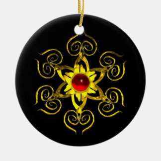 GOLDEN ROSE RUBY ,Black Ceramic Ornament