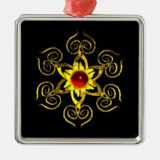GOLDEN ROSE RUBY ,black Metal Ornament