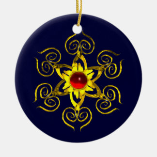GOLDEN ROSE RUBY ,Blue and white Ceramic Ornament