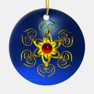 GOLDEN ROSE RUBY Blue Sapphire Ceramic Ornament