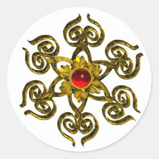 GOLDEN ROSE RUBY CLASSIC ROUND STICKER