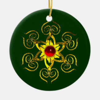 GOLDEN ROSE RUBY ,Green and white Ceramic Ornament