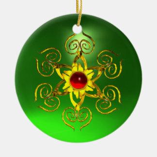 GOLDEN ROSE RUBY Green Emerald Ceramic Ornament