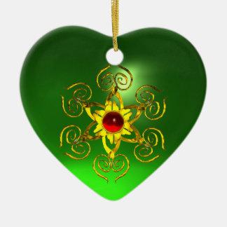 GOLDEN ROSE RUBY ,Green Emerald Heart Ceramic Ornament