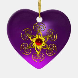 GOLDEN ROSE RUBY ,Purple Amethyst Heart Ceramic Ornament