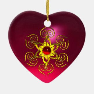 GOLDEN ROSE RUBY ,Purple Pink Ceramic Ornament