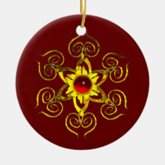 GOLDEN ROSE RUBY ,Red and Green Ceramic Ornament