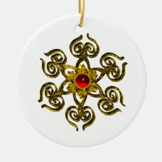 GOLDEN ROSE RUBY ,white Ceramic Ornament