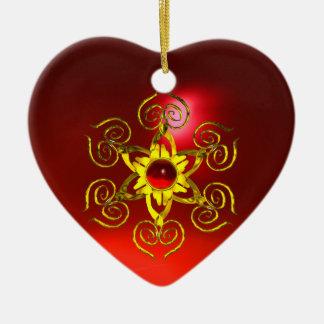 GOLDEN ROSE RUBY ,White Heart Ceramic Ornament