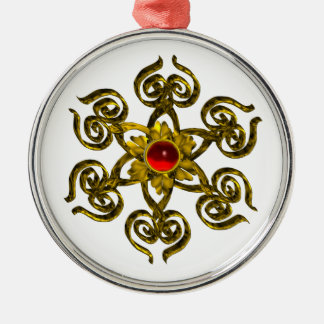 GOLDEN ROSE RUBY ,white Metal Ornament