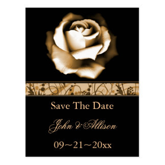 Golden Rose Save The Date Postcard