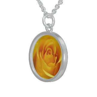 Golden Rose, Small Sterling Silver Round Necklace