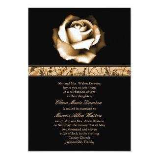 Golden Rose Wedding Invitation