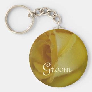 Golden Rose Wedding Keychain