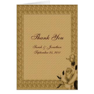 Golden Rosebuds Floral Wedding Thank You Card
