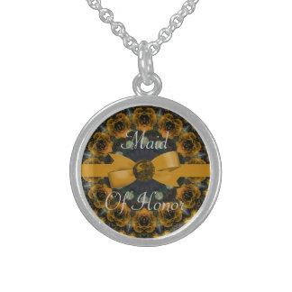Golden Roses Mandala Wedding Sterling Silver Necklace
