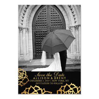 Golden Roses Save the Date - Black Card