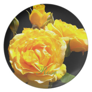 Golden Roses Sculpture Dinner Plate