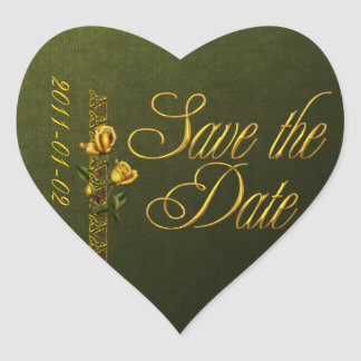 Golden Roses Wedding Suite Save the Date Heart Sticker