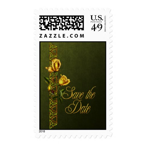 Golden Roses Wedding Suite Save the Date Postage Stamps