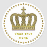 Golden Royal Crown Ii + Your Backgr. & Ideas Classic Round Sticker at Zazzle