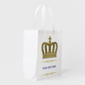 Golden Royal Crown II + your backgr. & ideas Grocery Bags