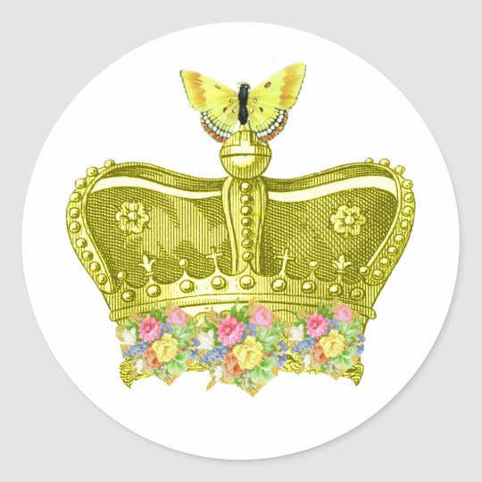 Golden Royal crown with butterfly sticker seal