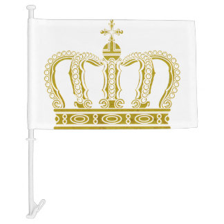 Golden Royal Crown + your backgr. & ideas Car Flag