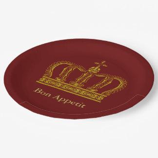 Golden Royal Crown + your backgr. & ideas Paper Plate