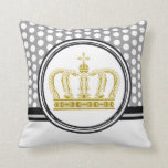 Golden Royal Crown + your backgr. & ideas Throw Pillow