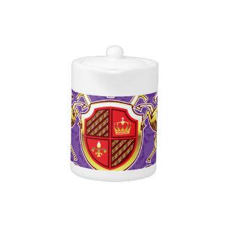 Golden Royal Emblem Horses Shield and Swords Teapot