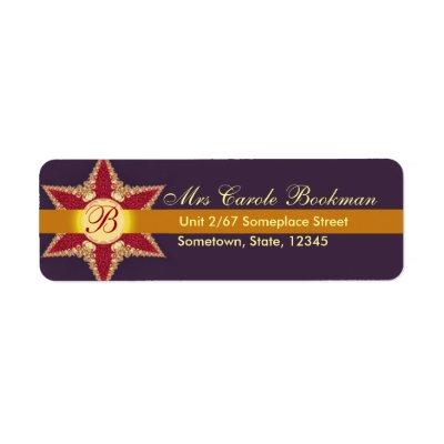 Golden Royal Lace Red Star Monogram Address Label label