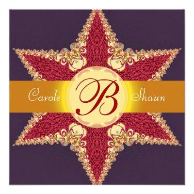 Golden Royal Red Star Monogram Wedding Invitation