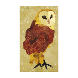 Golden Ruby Owl Canvas
