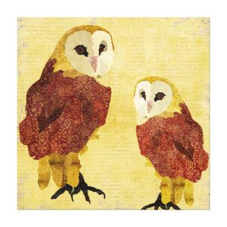Golden Ruby Owls Art Canvas