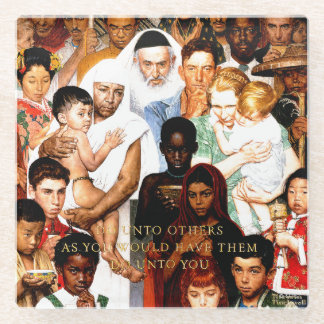 Golden Rule (Do unto others) by Norman Rockwell Glass Coaster