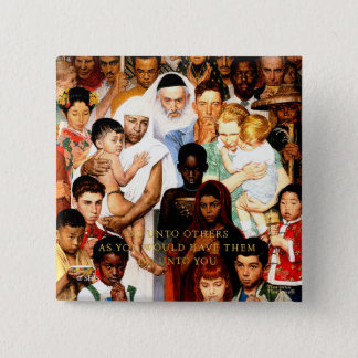 Golden Rule (Do unto others) by Norman Rockwell Pinback Button