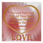Golden Rule On Pink Petals Angelic Wings Poster