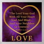Golden Rule On Royal Purple Angelic Wings Post. Print