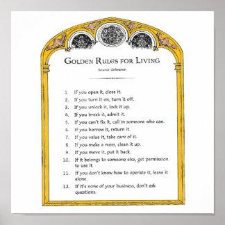Golden Rules for Living Poster