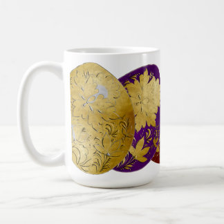 Golden Russian Folk Art Decorated Colored Eggs 2 Coffee Mug