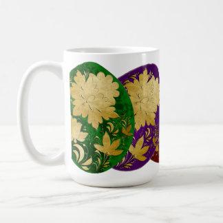 Golden Russian Folk Art Decorated Colored Eggs Coffee Mug