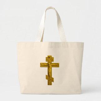 Golden Russian orthodox cross Tote Bag