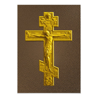 Golden Russian orthodox cross Card