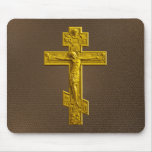 Golden Russian orthodox cross Mouse Pad