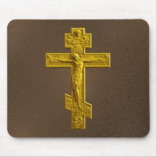 Golden Russian orthodox cross Mousepad