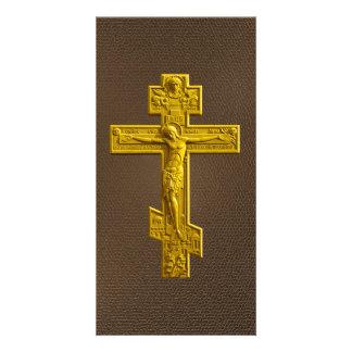 Golden Russian orthodox cross Photo Card