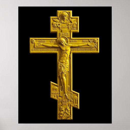 Golden Russian orthodox cross Poster