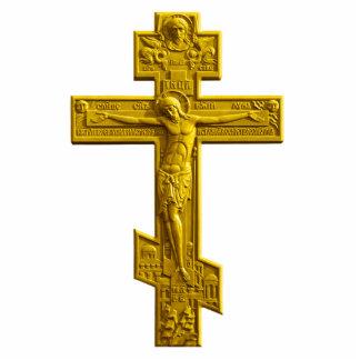 Golden Russian orthodox cross Statuette