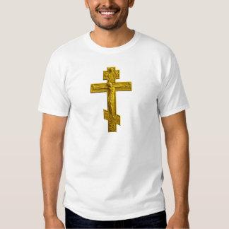 Golden Russian orthodox cross T-shirt